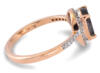Salt and pepper pear diamond rose gold engagement ring - side