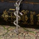 Platinum Snake Pendant with Old Mine Cut Diamond and Rubies