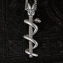 Platinum Snake Pendant with Old Mine Cut Diamond and Rubies-front