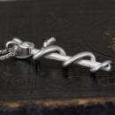 Platinum Snake Pendant with Old Mine Cut Diamond and Rubies-side