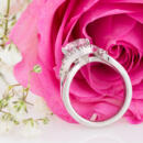 Custom diamond halo engagement ring pass through view