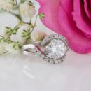 Custom diamond halo engagement ring front view