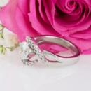 Custom diamond halo engagement ring side view