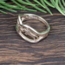 Custom horse white gold band side view with metal stamp