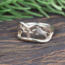 Custom horse white gold band angle view of ring