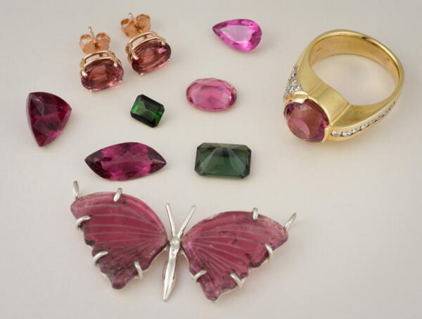 Tourmaline jewelry and loose gems